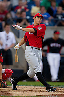 Derek Dietrich (32) of the Bowling Green Hot Rods follows through on his swing during the Midwest League All-Star Home Run Derby at Modern Woodmen Park on June 20, 2011 in Davenport, Iowa. (David Welker / Four Seam Images)