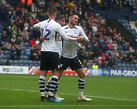 Preston North End's Paul Gallagher celebrates scoring his and his sides second goal from the penalty spot with team-mate Alan Browne<br /> <br /> Photographer Stephen White/CameraSport<br /> <br /> Football Pre-Season Friendly - Preston North End v Newcastle United - Saturday July 27th 2019 - Deepdale Stadium - Preston<br /> <br /> World Copyright © 2019 CameraSport. All rights reserved. 43 Linden Ave. Countesthorpe. Leicester. England. LE8 5PG - Tel: +44 (0) 116 277 4147 - admin@camerasport.com - www.camerasport.com
