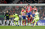 (L to R) Club Atletico de Madrid's Jan Oblack, Angel Correa, Stefan Savic, Rodrigo Hernandez and Futbol Club Barcelona's Samuel Umtiti and Leo Messi  during La Liga match. November 24,2018. (ALTERPHOTOS/Alconada)