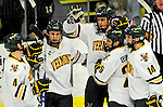 29 December 2010: University of Vermont Catamounts celebrate scoring a goal against the 2011 U.S. Men's National University Team in an exhibition game at Gutterson Fieldhouse in Burlington, Vermont. The Catamounts defeated the National team 7-1. Mandatory Credit: Ed Wolfstein Photo