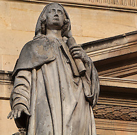 Statue of Suger of Saint-Denis,1081-1151, abbot, statesman and historian, by Nicolas Raggi, at the Colbert Wing, in the Cour Napoleon at the Musee du Louvre, Paris, France. A series of 86 statues of famous men were placed in this courtyard 1853-57 under the architects Louis Visconti and Hector Lefuel. Picture by Manuel Cohen