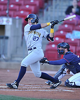 Burlington Bees left fielder Nonie Willaims (27) swings at a pitch against the Cedar Rapids Kernels at Veterans Memorial Stadium on April 13, 2019 in Cedar Rapids, Iowa.  Kernels won 2-1.  (Dennis Hubbard/Four Seam Images)