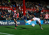 4th January 2020; Griffin Park, London, England; English FA Cup Football, Brentford FC versus Stoke City;  Mads Roerslev of Brentford crosses the ball past Tyrese Campbell of Stoke City - Strictly Editorial Use Only. No use with unauthorized audio, video, data, fixture lists, club/league logos or 'live' services. Online in-match use limited to 120 images, no video emulation. No use in betting, games or single club/league/player publications