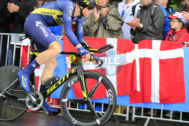 Mathew Hayman (AUS) Orica-Scott in action during Stage 1, a 14km individual time trial around Dusseldorf, of the 104th edition of the Tour de France 2017, Dusseldorf, Germany. 1st July 2017.<br /> Picture: Eoin Clarke | Cyclefile<br /> <br /> <br /> All photos usage must carry mandatory copyright credit (&copy; Cyclefile | Eoin Clarke)