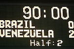 06 June 2008: The scoreboard shows the final score. The Venezuela Men's National Team defeated the Brazil Men's National Team 2-0 at Gillette Stadium in Foxboro, Massachusetts in an international friendly soccer match.