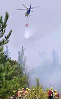 ((((CORRIGE TÉRMINO DE AERONAVE))))SANT104- QUILLÓN (CHILE).- Vista de un helicóptero cisterna colaborando en las labores de control del fuego en los alrededores de Quillón, una localidad rural ubicada a 450 kilómetros al sur de Santiago. Los incendios forestales que desde hace una semana afectan a las regiones de Magallanes, Biobío y El Maule han destruido hasta el momento unas 37.400 hectáreas de vegetación y han obligado al cierre del parque Torres del Paine, un vasto territorio natural reserva de la Biosfera situado en la Patagonia chilena. EFE/ARIEL MARINKOVIC