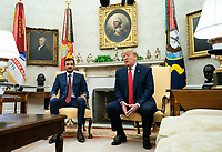 United States President Donald J. Trump speaks during a meeting with Qatar's Emir Sheikh Tamim Bin Hamad Al-Thani, in the Oval Office at the White House in Washington, D.C. on July 9, 2019. <br /> CAP/MPI/RS<br /> ©RS/MPI/Capital Pictures