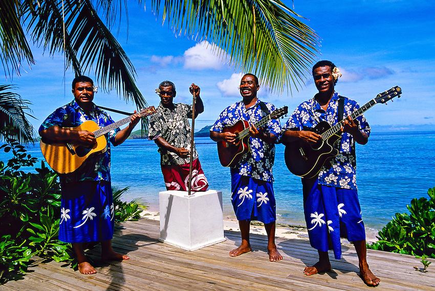 Staff members playing music, Tokoriki Island Resort, Mamunucas, Fiji Islands