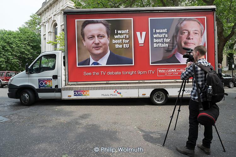 Video journalist. Launch of EU Referendum campaign poster, London