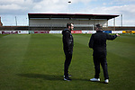 Away manager Gary Jardine (right) and midfielder Craig Beattie chatting on the pitch at Gayfield Park before Arbroath hosted Edinburgh City in an SPFL League 2 fixture. The newly-promoted side from the Capital were looking to secure their place in SPFL League 2 after promotion from the Lowland League the previous season. They won the match 1-0 with an injury time goal watched by 775 spectators to keep them 4 points clear of bottom spot with three further games to play.