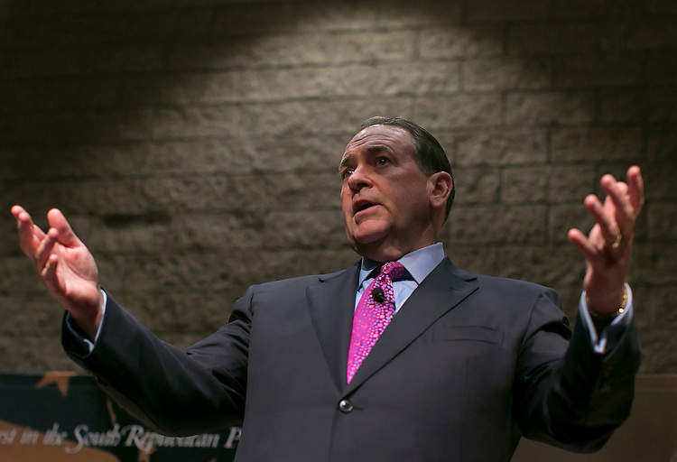 UNITED STATES - JULY 6 - GOP presidential hopeful and former Arkansas Gov. Mike Huckabee speaks during the Presidential Town Hall series, hosted by Sen. Tim Scott, R-S.C., at the Civic Center of Anderson in Anderson, S.C. on Monday, July 6, 2015. Photo By Al Drago/CQ Roll Call)
