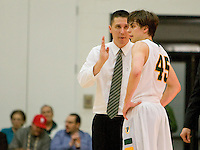 USF head coach Rex Walters talks with Cody Doolin during the game against St. John's at War Memorial Gym in San Francisco, California on December 4th, 2012.   USF Dons defeated St. John's, 81-65.