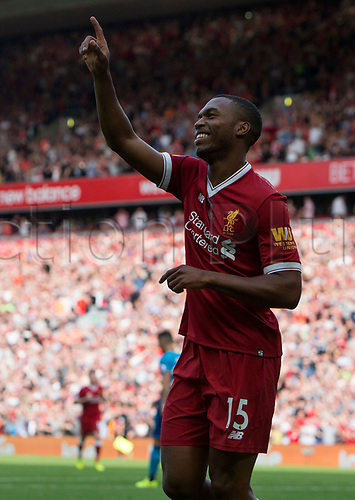 27th August 2017, Anfield, Liverpool, England; EPL Premier League football, Liverpool versus Arsenal; Daniel Sturridge  celebrate his goal in the 77th minute giving Liverpool a 4-0 lead