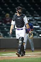 Winston-Salem Dash catcher Nate Nolan (15) on defense against the Salem Red Sox at BB&T Ballpark on April 20, 2018 in Winston-Salem, North Carolina.  The Red Sox defeated the Dash 10-3.  (Brian Westerholt/Four Seam Images)
