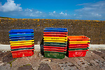 Fish boxes in Fahamore Harbour, Co, Kerry, Ireland