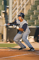 Jansy Infante (36) of the Lake County Captains squares around to bunt at Fieldcrest Cannon Stadium in Kannapolis, NC, Wednesday July 2, 2008. (Photo by Brian Westerholt / Four Seam Images)