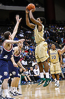 February 03, 2011:    Jacksonville Dolphins forward Delwan Graham (21) goes up for a jump shot during Atlantic Sun Conference action between the Jacksonville Dolphins and the Belmont Bruins at Veterans Memorial Arena in Jacksonville, Florida.  Belmont defeated Jacksonville 76-70.