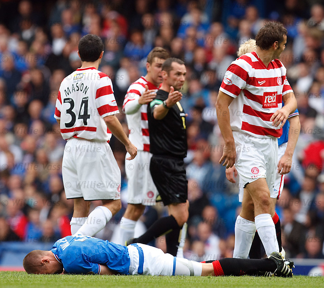 Kenny Miller lies crumpled after a heavy challenge