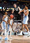 GLENDALE, AZ - APRIL 03:  Zach Collins #32 of the Gonzaga Bulldogs gets blocked by Kennedy Meeks #3 of the North Carolina Tar Heels during the 2017 NCAA Men's Final Four National Championship game at University of Phoenix Stadium on April 3, 2017 in Glendale, Arizona.  (Photo by Jamie Schwaberow/NCAA Photos via Getty Images)
