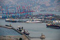 LEBANON, Beirut, port and container terminal of Beirut / LIBANON, Beirut, Hafen und Container Terminal am Mittelmeer