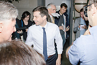 Democratic presidential candidate Pete Buttigieg greets people after speaking at a campaign event at the Currier Museum of Art in Manchester, New Hampshire, USA, on Fri., Apr. 5, 2019. The venue was filled to capacity about an hour before the candidate's arrival, so Buttigieg delivered an impromptu speech to those denied entry outside the museum before the official event. Buttigieg is the mayor of South Bend, Indiana, and was widely considered a long-shot candidate until his appearance in a CNN town hall in March 2019 which catapulted his campaign to prominence and substantial donations.