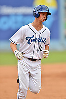 Asheville Tourists designated hitter Todd Czinege (10) rounds the bases after hitting a home run during a game against the Augusta GreenJackets at McCormick Field on August 19, 2018 in Asheville, North Carolina. The Tourists defeated the GreenJackets 6-3. (Tony Farlow/Four Seam Images)