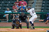 NW Arkansas Naturals outfielder Alex Liddi (22) at bat in front of catcher Jason Hagerty and umpire Lee Meyers during a game against the San Antonio Missions on May 31, 2015 at Arvest Ballpark in Springdale, Arkansas.  NW Arkansas defeated San Antonio 3-1.  (Mike Janes/Four Seam Images)