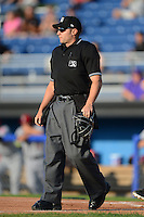 Umpire James Pattison during a game between the Batavia Muckdogs and Mahoning Valley Scrappers on June 21, 2013 at Dwyer Stadium in Batavia, New York.  Batavia defeated Mahoning Valley 3-2.  (Mike Janes/Four Seam Images)