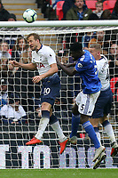 Harry Kane of Tottenham Hotspur and Bruno Ecuele Manga of Cardiff City during Tottenham Hotspur vs Cardiff City, Premier League Football at Wembley Stadium on 6th October 2018