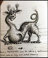 Edwardian exercise book reveals extraordinary beasts.
