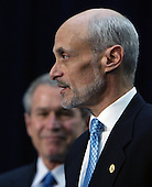 Washington, D.C. - March 3, 2005 -- United States Secretary of Homeland Security Michael Chertoff makes remarks after taking the oath of office at the Ronald Reagan Building in Washington, DC on March 3, 2005. United States President George W. Bush  is in background.<br /> Credit: Dennis Brack - Pool via CNP