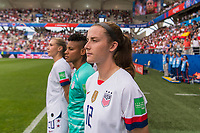 REIMS,  - JUNE 24: Tierna Davidson #12 watches the national anthems during a game between NT v Spain and  at Stade Auguste Delaune on June 24, 2019 in Reims, France.