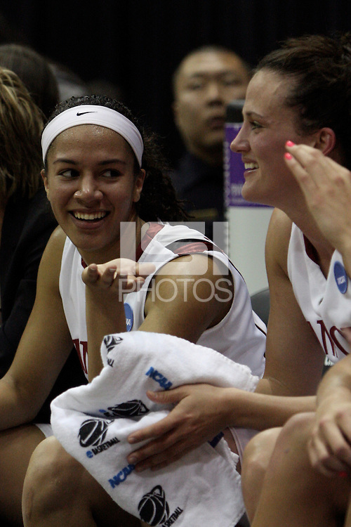 BERKELEY, CA - MARCH 30: Ros Gold-Onwude and Jillian Harmon enjoying the final minutes of Stanford's 74-53 win against the Iowa State Cyclones on March 30, 2009 at Haas Pavilion in Berkeley, California.