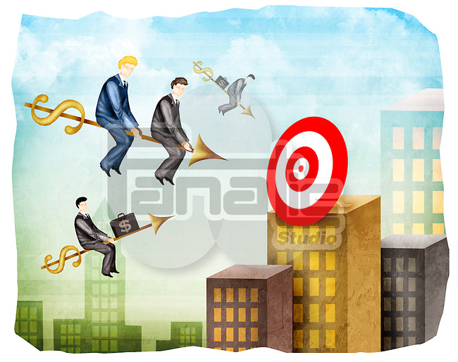 Sales executives reaching towards a target on arrows