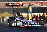 Nov 7, 2013; Pomona, CA, USA; NHRA top fuel dragster driver Billy Torrence during qualifying for the Auto Club Finals at Auto Club Raceway at Pomona. Mandatory Credit: Mark J. Rebilas-