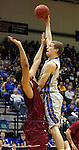 BROOKINGS, SD - FEBRUARY 8:  Marcus Heemstra #32 from South Dakota State shoots over Justus Stanback #12 from IUPUI in the first half of their game Saturday afternoon at Frost Arena in Brookings. (Photo by Dave Eggen/Inertia)