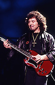 Black Sabbath -  guitarist Tony Iommi - performing live at the first reunion concert of the original line-up at the NEC Arena in Birmingham UK - 04 Dec 1997.  Photo credit: George Chin/IconicPix