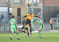 Newport County's Jamille Matt vies for possession with Colchester United's Luke Prosser<br /> <br /> Photographer Kevin Barnes/CameraSport<br /> <br /> The EFL Sky Bet League Two - Newport County v Colchester United - Saturday 17th November 2018 - Rodney Parade - Newport<br /> <br /> World Copyright © 2018 CameraSport. All rights reserved. 43 Linden Ave. Countesthorpe. Leicester. England. LE8 5PG - Tel: +44 (0) 116 277 4147 - admin@camerasport.com - www.camerasport.com