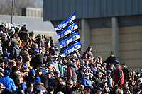 A Bath Rugby supporter in the crowd waves a flag in support. Aviva Premiership match, between Bath Rugby and Sale Sharks on February 24, 2018 at the Recreation Ground in Bath, England. Photo by: Patrick Khachfe / Onside Images