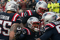 FOXBOROUGH, MA - OCTOBER 27: New England Patriots Defensive back Jonathan Jones #31 and New England Patriots Defensive lineman Adam Butler #70 celebrate with New England Patriots Linebacker Dont'a Hightower #54 after his touchdown during a game between Cleveland Browns and New Enlgand Patriots at Gillettes on October 27, 2019 in Foxborough, Massachusetts.