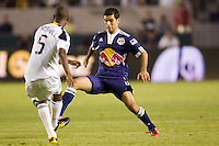 Midfielder Rafael Marquez of the New York Red Bulls moves in on LA Galaxy defender Yohance Marshall. The New York Red Bulls beat the LA Galaxy 2-0 at Home Depot Center stadium in Carson, California on Friday September 24, 2010.