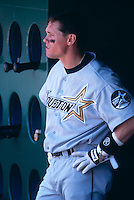 SAN FRANCISCO, CA - Craig Biggio of the Houston Astros stands in the dugout during a game against the San Francisco Giants at Candlestick Park in San Francisco, California in 1999. Photo by Brad Mangin