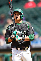 Hawaii Rainbow Warriors second baseman JJ Kitaoka (14) at bat during Houston College Classic against the Baylor Bears on March 6, 2015 at Minute Maid Park in Houston, Texas. Hawaii defeated Baylor 2-1. (Andrew Woolley/Four Seam Images)
