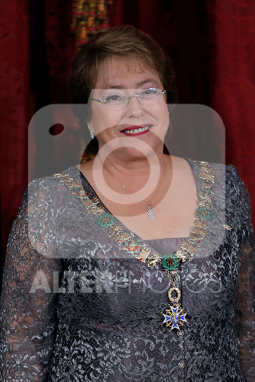 Spanish Royals attend a Gala Dinner in honour of President of Chile Michelle Bachelet at The Royal Palace in Madrid. In the pic Michelle Bachelet. October 29, 2014. (Jose Luis Cuesta/POOL/ALTERPHOTOS)