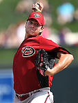 Daniel Hudson throws for the D'backs during a Cactus League preseason game between the Colorado Rockies and the Arizona Diamondbacks in Scottsdale, Ariz., on Monday, March 5, 2012. .Photo by Cathleen Allison