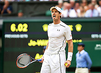 London, England, 6 th July, 2016, Tennis,  Wimbledon, Men's quarterfinal  Andy Murray (GBR)  screams  it out in his match against   Jo-Wilfried Tsonga (FRA) <br /> Photo: Henk Koster/tennisimages.com