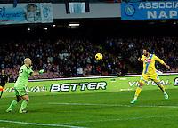 Gol  Gonzalo Higuain  durante l'incontro di calcio di Serie A  Napoli Milan allo  Stadio San Paolo  di Napoli , 08 Febbraio 2014<br /> Foto Ciro De Luca