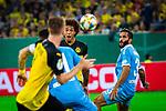 09.08.2019, Merkur Spiel-Arena, Düsseldorf, GER, DFB Pokal, 1. Hauptrunde, KFC Uerdingen vs Borussia Dortmund , DFB REGULATIONS PROHIBIT ANY USE OF PHOTOGRAPHS AS IMAGE SEQUENCES AND/OR QUASI-VIDEO<br /> <br /> im Bild | picture shows:<br /> Axel Witsel (Borussia Dortmund #28) mit dem Pass zu Marco Reus (Borussia Dortmund #11), <br /> <br /> Foto © nordphoto / Rauch