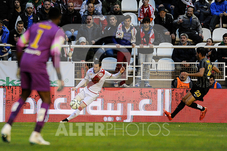 Rayo Vallecano´s Tito and Malaga CF´s goalkeeper Idriss Carlos Kameni and Miguel Torres Gomez during 2014-15 La Liga match between Rayo Vallecano and Malaga CF at Rayo Vallecano stadium in Madrid, Spain. March 21, 2015. (ALTERPHOTOS/Luis Fernandez)