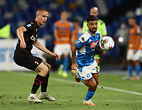 12th July 2020; Stadio San Paolo, Naples, Campania, Italy; Serie A Football, Napoli versus AC Milan; Lorenzo Insigne of Napoli breaks along the wing and away from Andrea Conti of AC Milan
